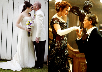 Healthy, natural beauty.  Me on my wedding day with the love of my life, and Kate Winslet in Titanic.